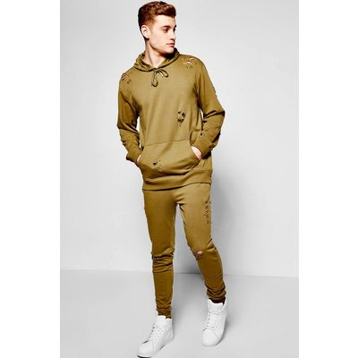 Destroyed Hooded Tracksuit - khaki