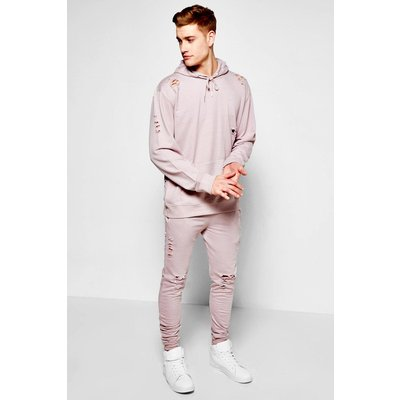 Destroyed Hooded Tracksuit - lilac
