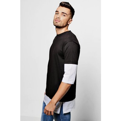 Layer 3/4 Sleeve T Shirt - black