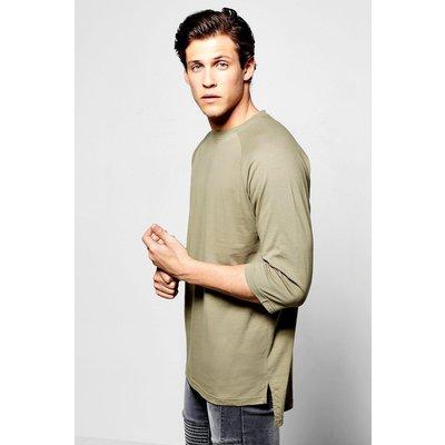Sleeve T Shirt With Stepped Hem - khaki