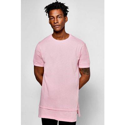Biker T Shirt With Stepped Hem - pink
