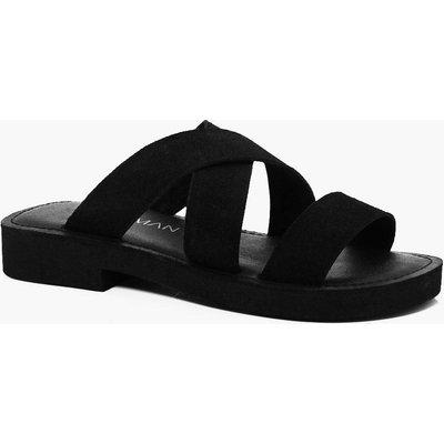 Suede Strap Sandal - black