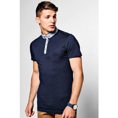 Down Polo T Shirt With Chambray Collar - navy