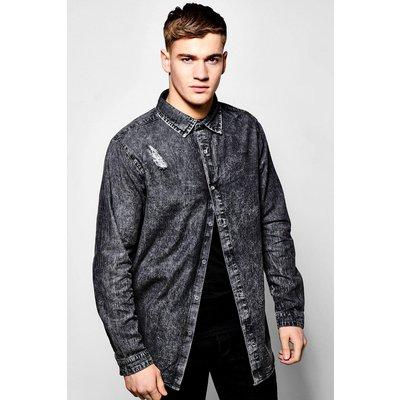 Sleeve Longline Scoop Hem Denim Shirt - charcoal