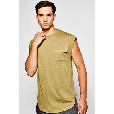 Pocket Vest With Drop Shoulder - khaki