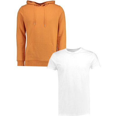 Pack Over The Head Hoodie And Longline T Shirt - multi