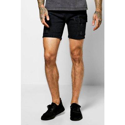 Stretch Denim Utility Shorts - washed black