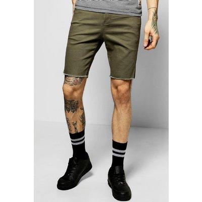 Stretch Denim Shorts With Raw Hem - khaki