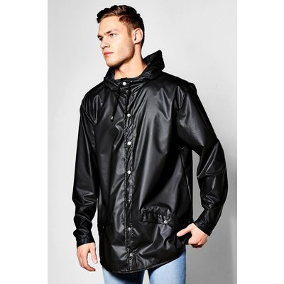 Resistant Longline Hooded Rain Mac - black