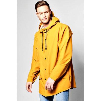 Resistant Longline Hooded Rain Mac - mustard