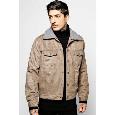 Trucker Jacket with Borg Collar - grey