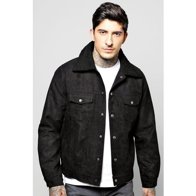 Trucker Jacket with Borg Collar - black