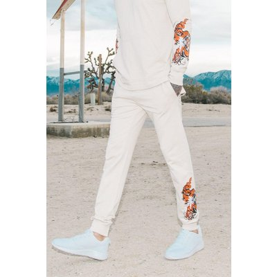 Fit Dragon Print Joggers - stone
