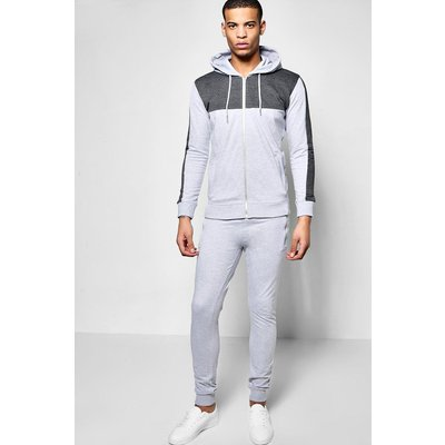 Hooded Tracksuit - grey marl