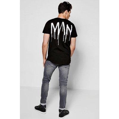 Curved Hem MAN T Shirt - black