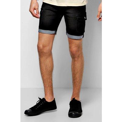 Skinny Denim Cargo Shorts - washed black