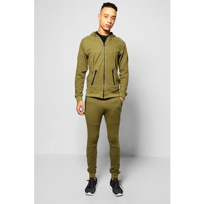 Fit Ribbed Panel Tracksuit - olive