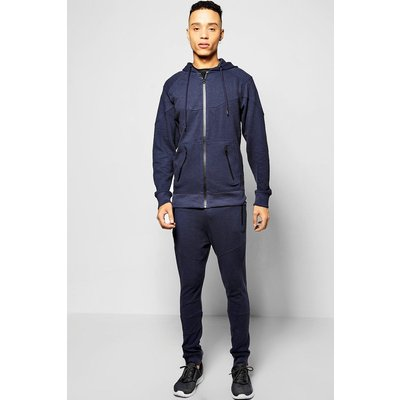 Fit Ribbed Panel Tracksuit - navy