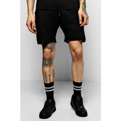 Shorts With Distressing And  Raw Edges - black
