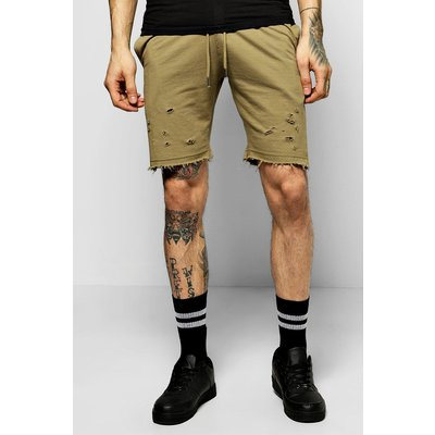 Shorts With Distressing And  Raw Edges - khaki