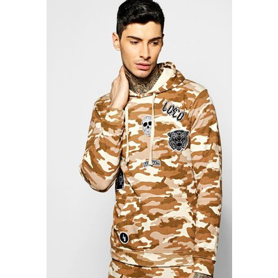 The Head Camo Hoodie With Badges - sand
