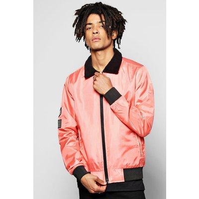 Harrington Jacket with Borg Collar - dusky pink