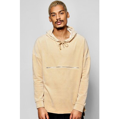 Velour Hoodie With Zip Detail - stone