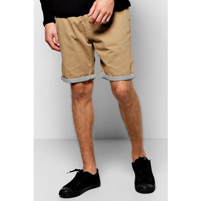 Shorts With Stripe Turn Up - stone