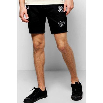 Fit Badge Denim Shorts - black