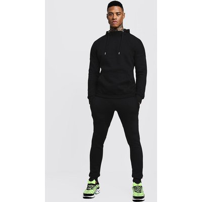 Neck Hooded Tracksuit With Skinny Joggers - black