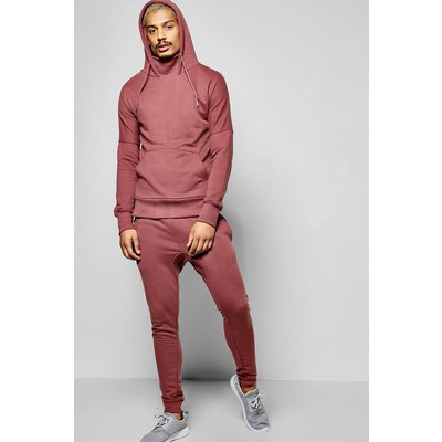 Neck Hooded Tracksuit With Skinny Joggers - pink