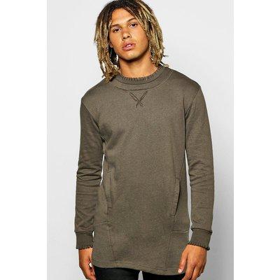 Raw Edge Sweatshirt With Pockets - khaki