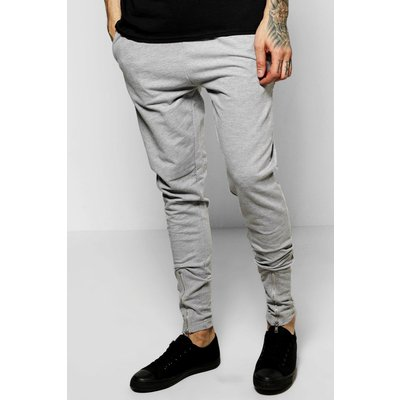 Fit Jersey Joggers With Zip Front - grey
