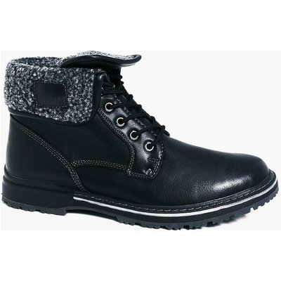 Lined Fold Down Boots - black