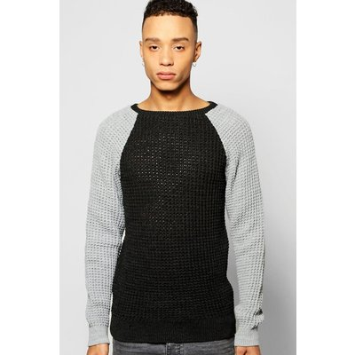 Stitch Raglan Sleeve Colour Blocked Jumper - charcoal