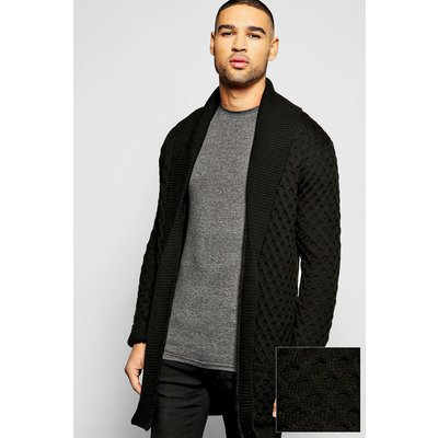 Knit Cardigan With Plackett - black