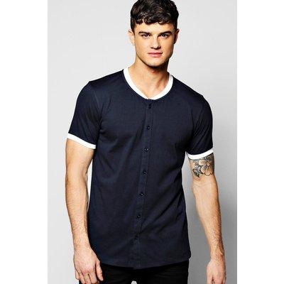 Neck Button Through T-Shirt - navy