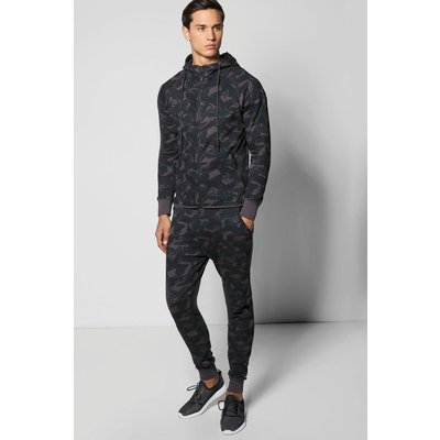 Fit Camo Hooded Tracksuit - black