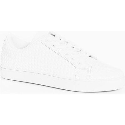 Up Diamond Textured Trainer - white
