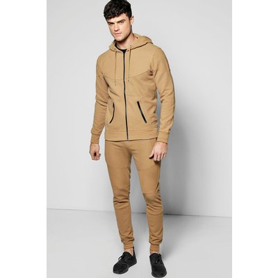 Fit Hooded Ribbed Tracksuit - sand