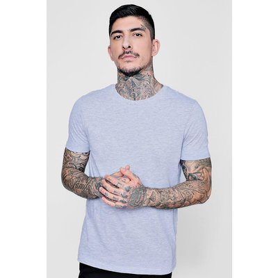 Neck T-Shirt with Rolled Sleeves - grey marl