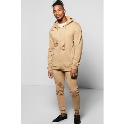 Fit Distressed Hooded Tracksuit - sand
