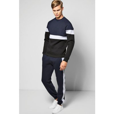 Panelled Tracksuit - navy