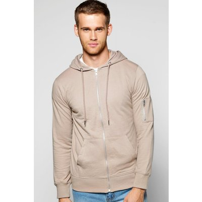 Zip Through Hoodie - taupe
