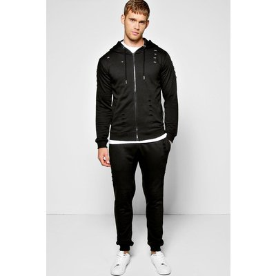 Fit Ripped Hooded Tracksuit - black
