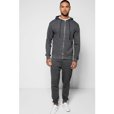 Pique Zip Through Tracksuit - charcoal