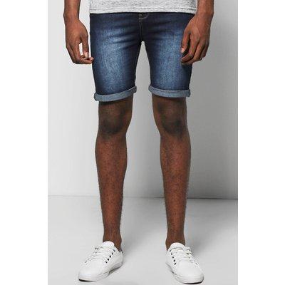 Fit Indigo Wash Denim Shorts in Long Length - indigo