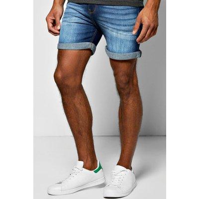 Fit Indigo Wash Denim Shorts in Short Length - indigo