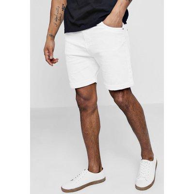 Fit White Denim Shorts in Long Length - white