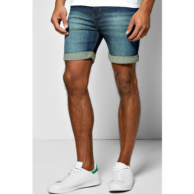 Fit Denim Shorts with Green Wash in Mid Length - denim